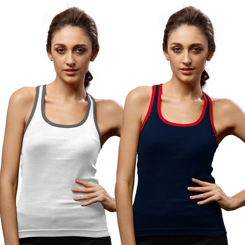 Sirtex Eazy Gym Vest for Women (Pack of 2) White & Navy Blue - WGV-5002