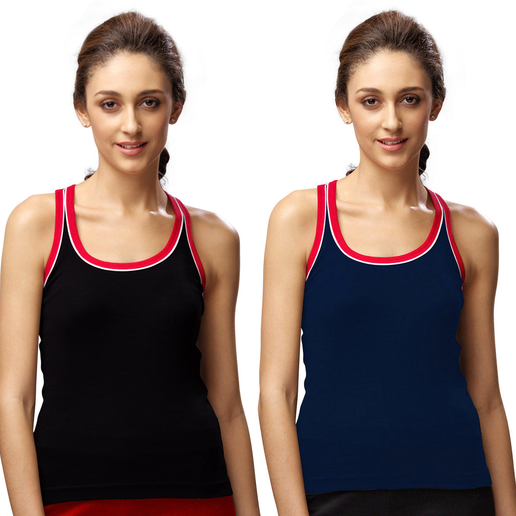Sirtex Eazy Gym Vest for Women (Pack of 2) Black & Navy Blue - WGV-5003