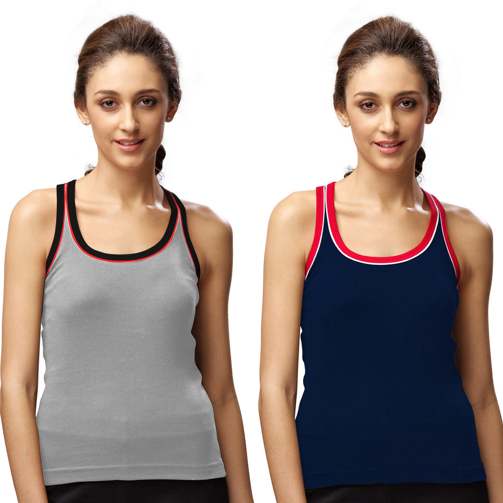 Sirtex Eazy Gym Vest for Women (Pack of 2) Grey Melange & Navy Blue - WGV-5003