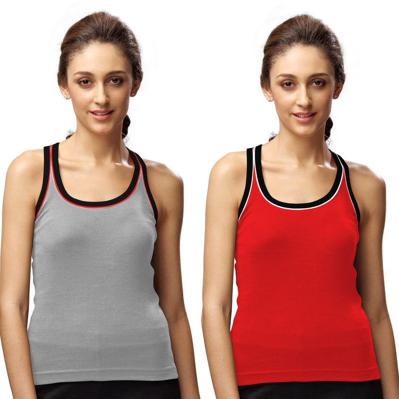 Sirtex Eazy Gym Vest for Women (Pack of 2) Grey Melange & Red - WGV-5003