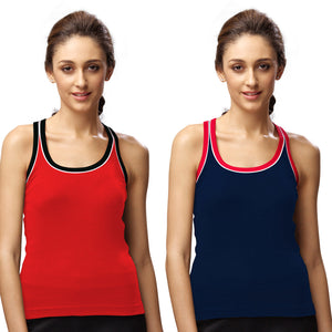 Sirtex Eazy Gym Vest for Women (Pack of 2) Red & Navy Blue - WGV-5003