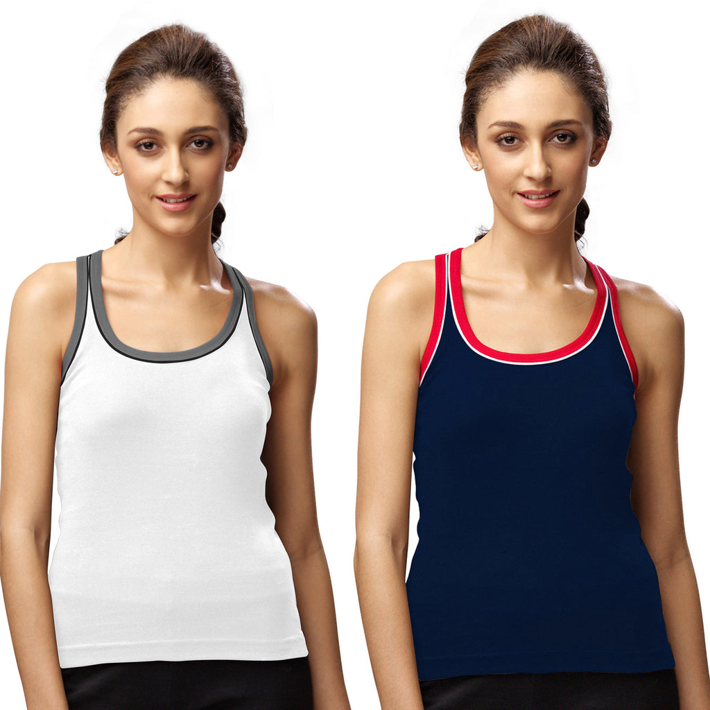Sirtex Eazy Gym Vest for Women (Pack of 2) White & Navy Blue - WGV-5003