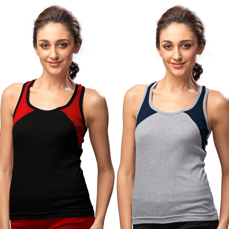Sirtex Eazy Gym Vest for Women (Pack of 2) Black & Grey Melange - WGV-5004