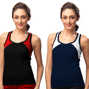 Sirtex Eazy Gym Vest for Women (Pack of 2) Black & Navy Blue - WGV-5004