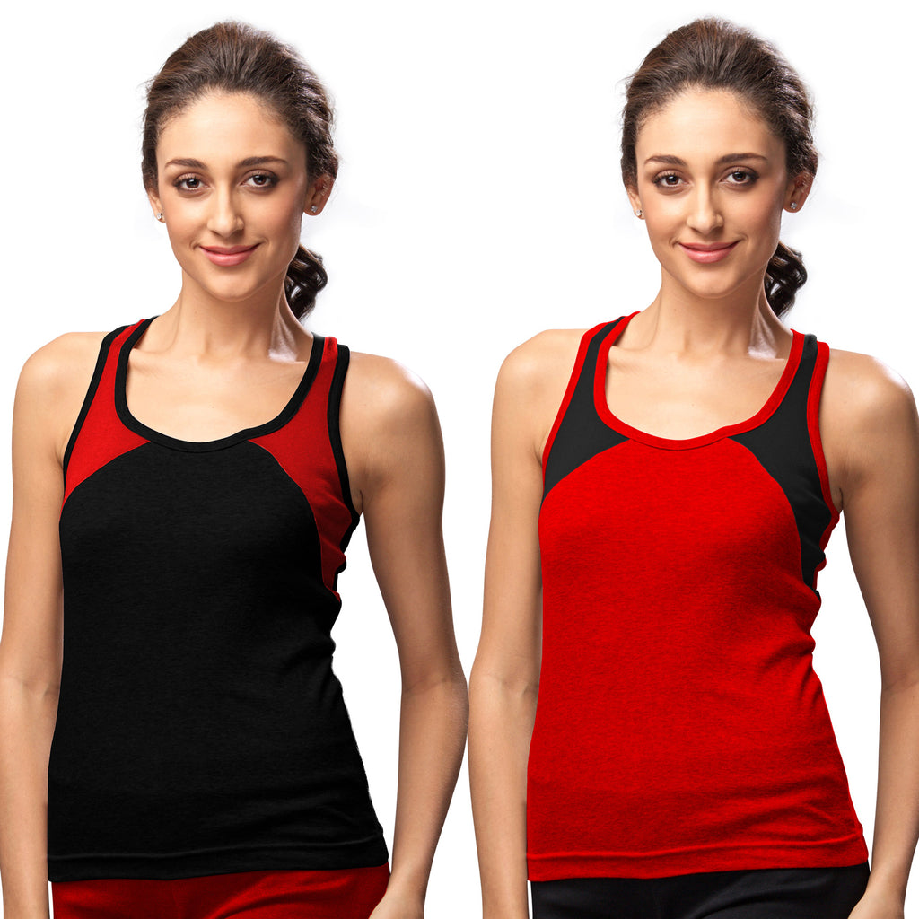 Sirtex Eazy Gym Vest for Women (Pack of 2) Black & Red - WGV-5004