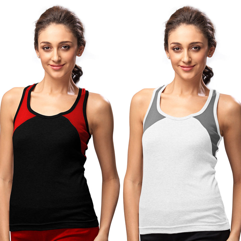 Sirtex Eazy Gym Vest for Women (Pack of 2) Black & White - WGV-5004