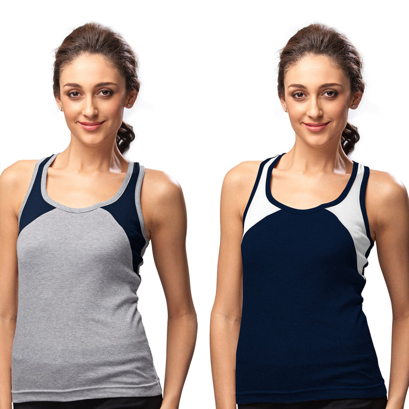 Sirtex Eazy Gym Vest for Women (Pack of 2) Grey Melange & Navy Blue - WGV-5004