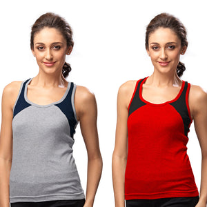 Sirtex Eazy Gym Vest for Women (Pack of 2) Grey Melange & Red - WGV-5004