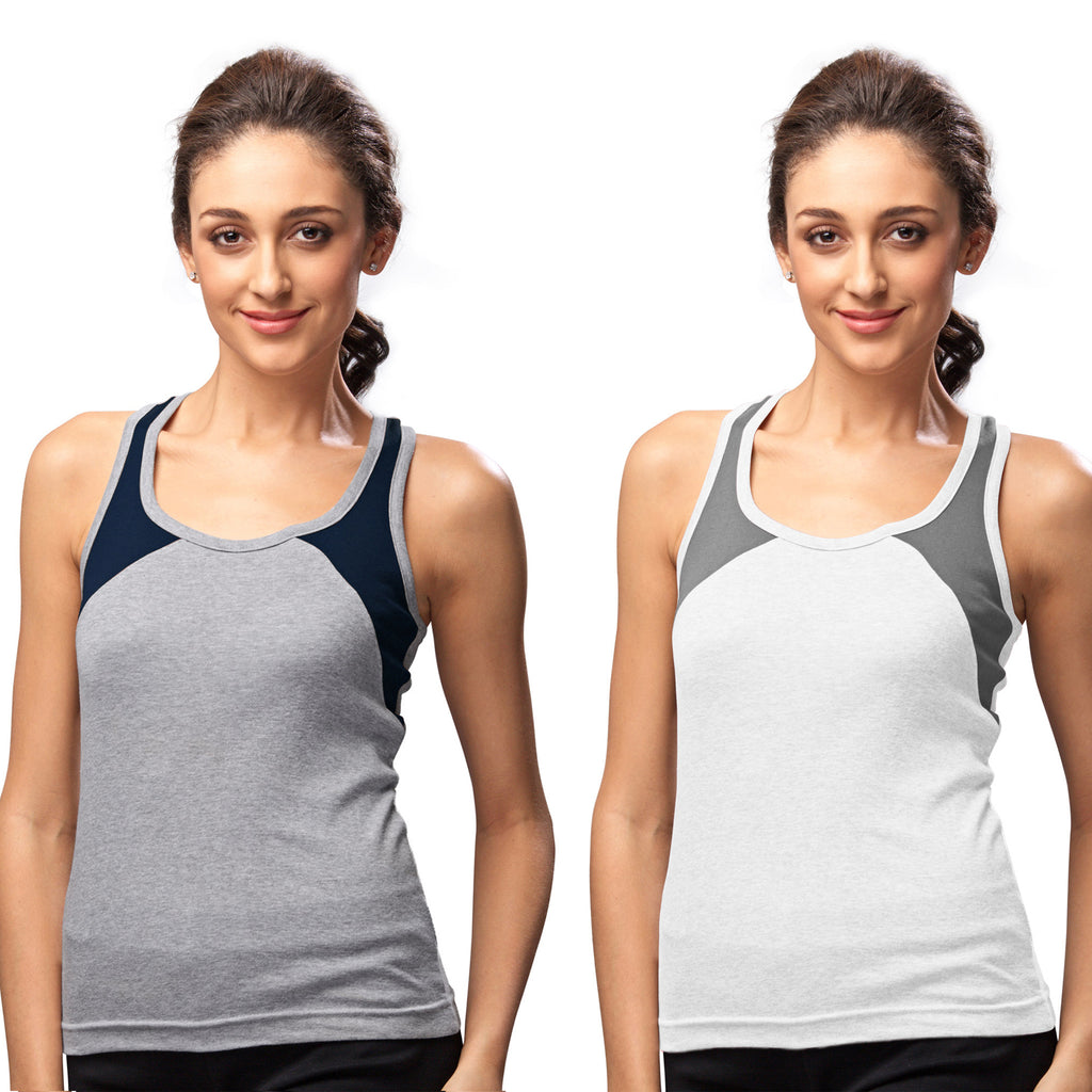 Sirtex Eazy Gym Vest for Women (Pack of 2) Grey Melange & White - WGV-5004