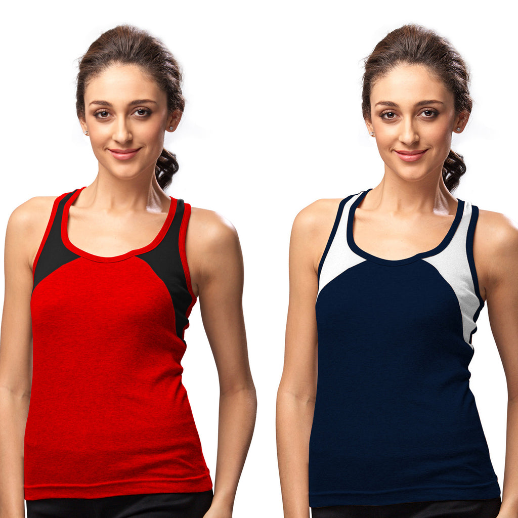 Sirtex Eazy Gym Vest for Women (Pack of 2) Red & Navy Blue - WGV-5004