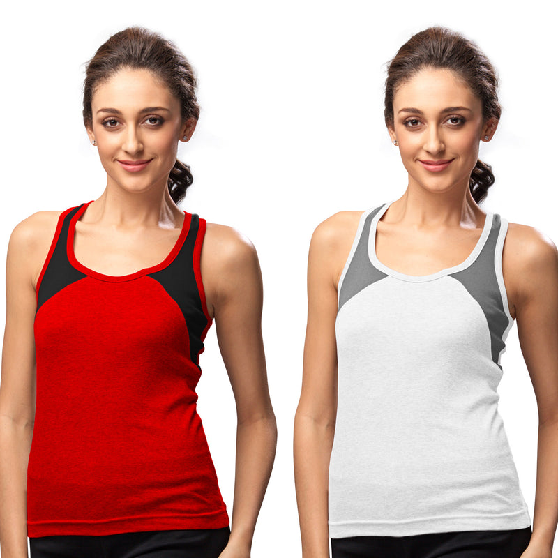 Sirtex Eazy Gym Vest for Women (Pack of 2) Red & White - WGV-5004