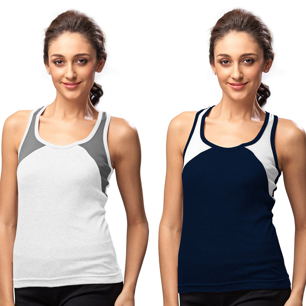 Sirtex Eazy Gym Vest for Women (Pack of 2) White & Navy Blue - WGV-5004