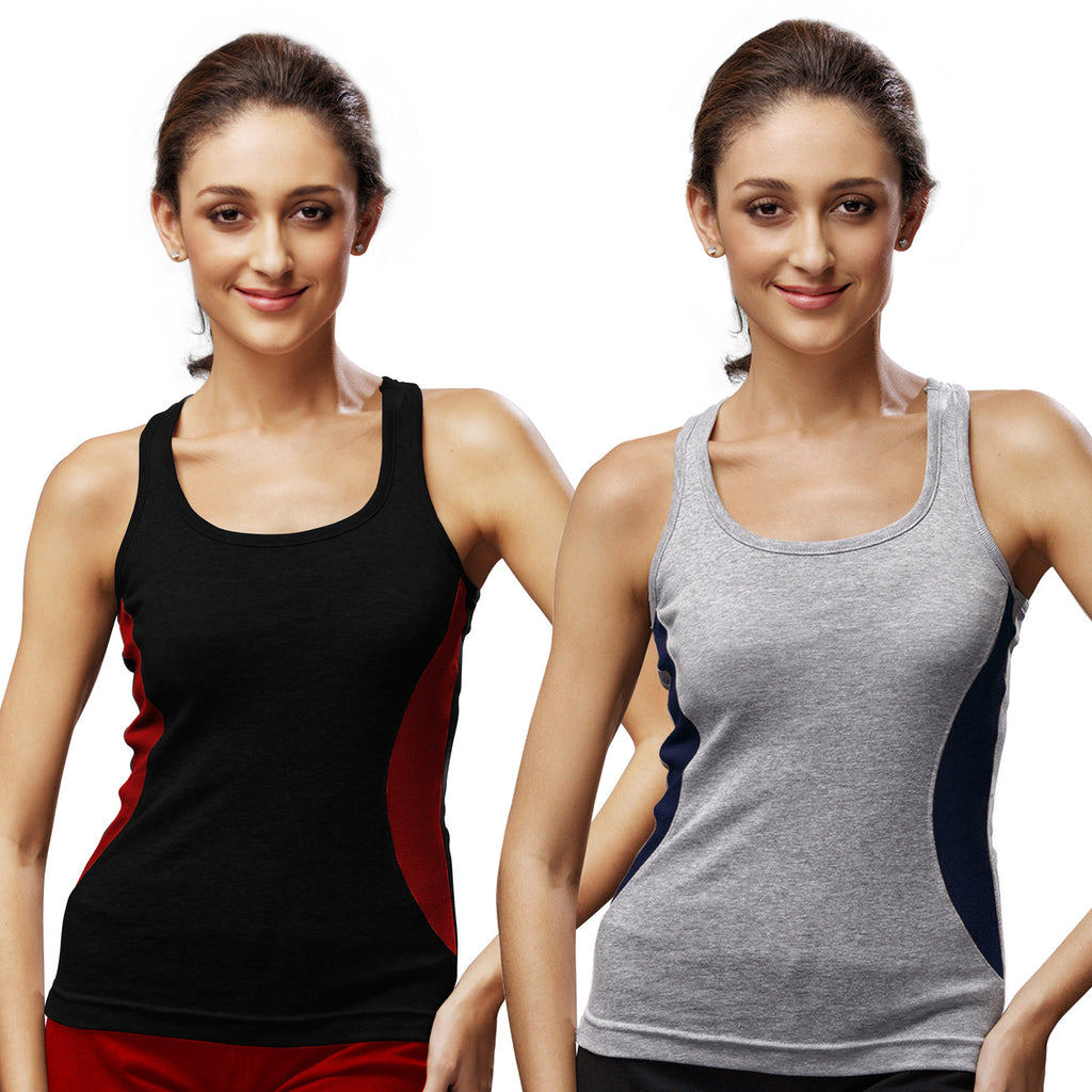 Sirtex Eazy Gym Vest for Women (Pack of 2) Black & Grey Melange - WGV-5005