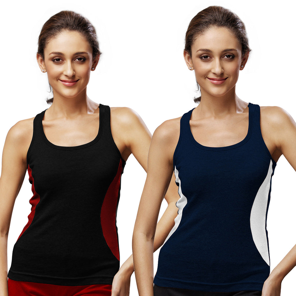 Sirtex Eazy Gym Vest for Women (Pack of 2) Black & Navy Blue - WGV-5005