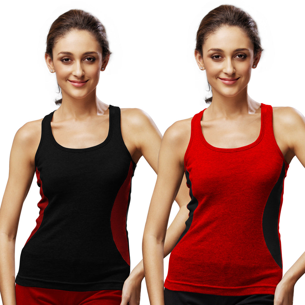 Sirtex Eazy Gym Vest for Women (Pack of 2) Black & Red - WGV-5005