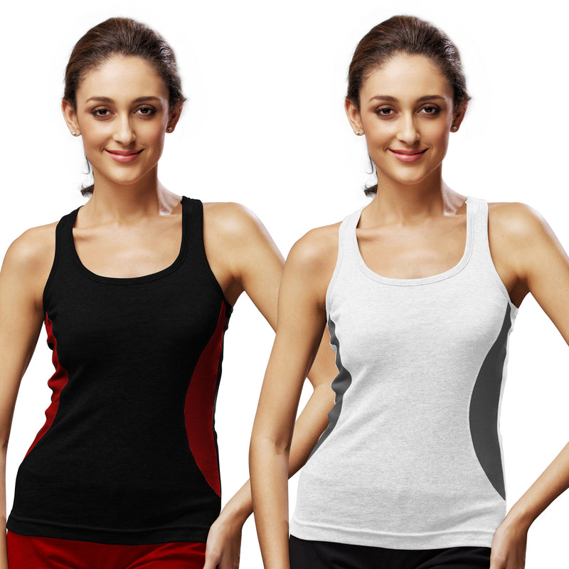 Sirtex Eazy Gym Vest for Women (Pack of 2) Black & White - WGV-5005