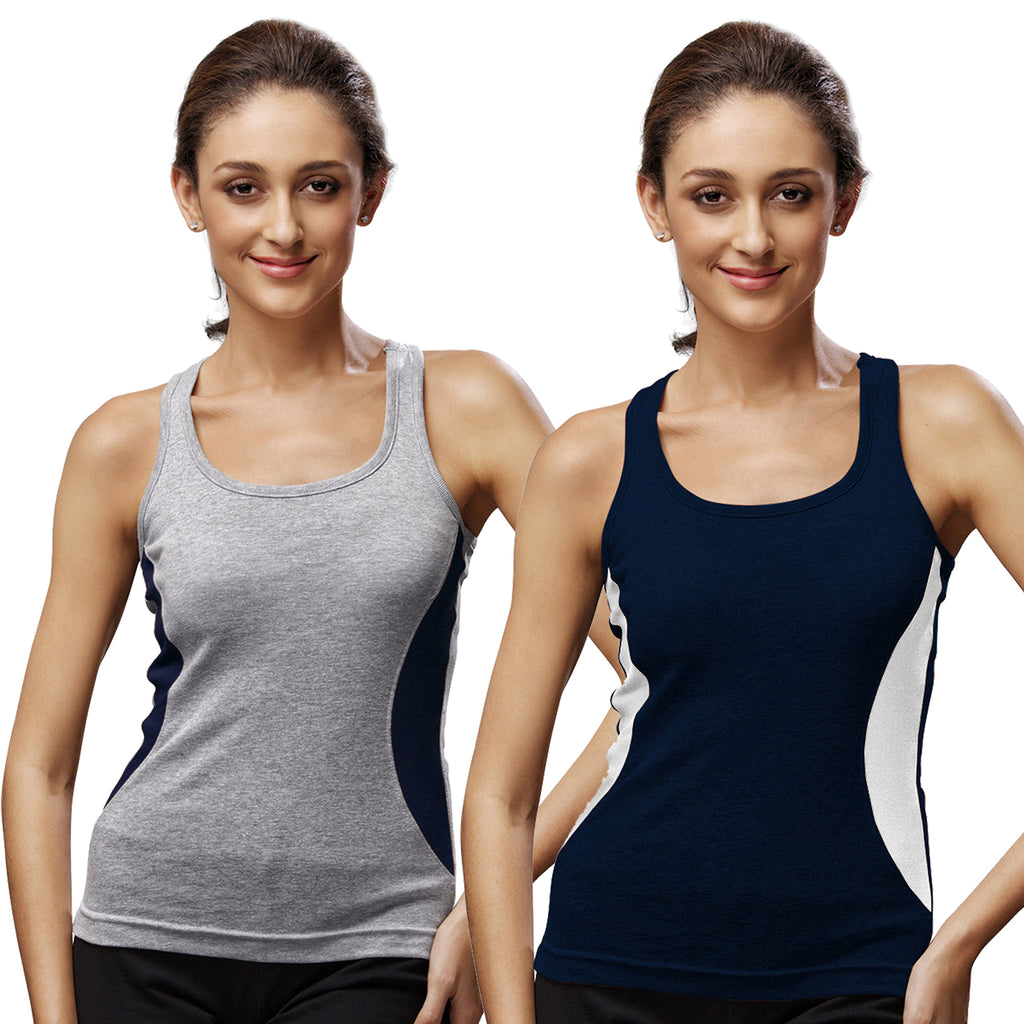 Sirtex Eazy Gym Vest for Women (Pack of 2) Grey Melange & Navy Blue - WGV-5005