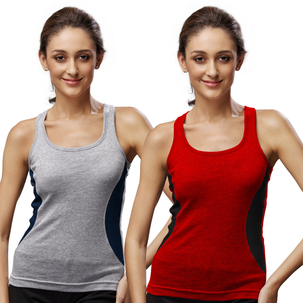 Sirtex Eazy Gym Vest for Women (Pack of 2) Grey Melange & Red - WGV-5005