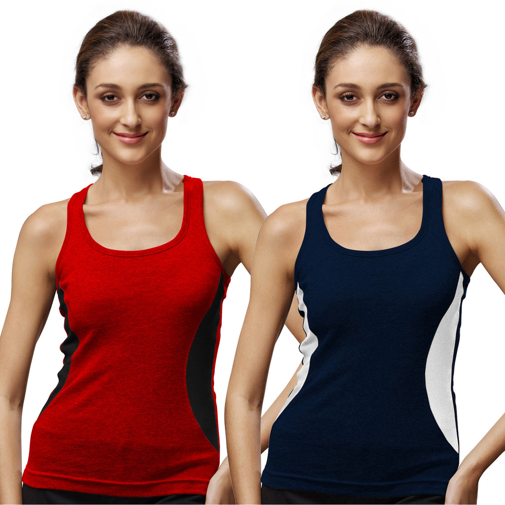 Sirtex Eazy Gym Vest for Women (Pack of 2) Red & Navy Blue - WGV-5005