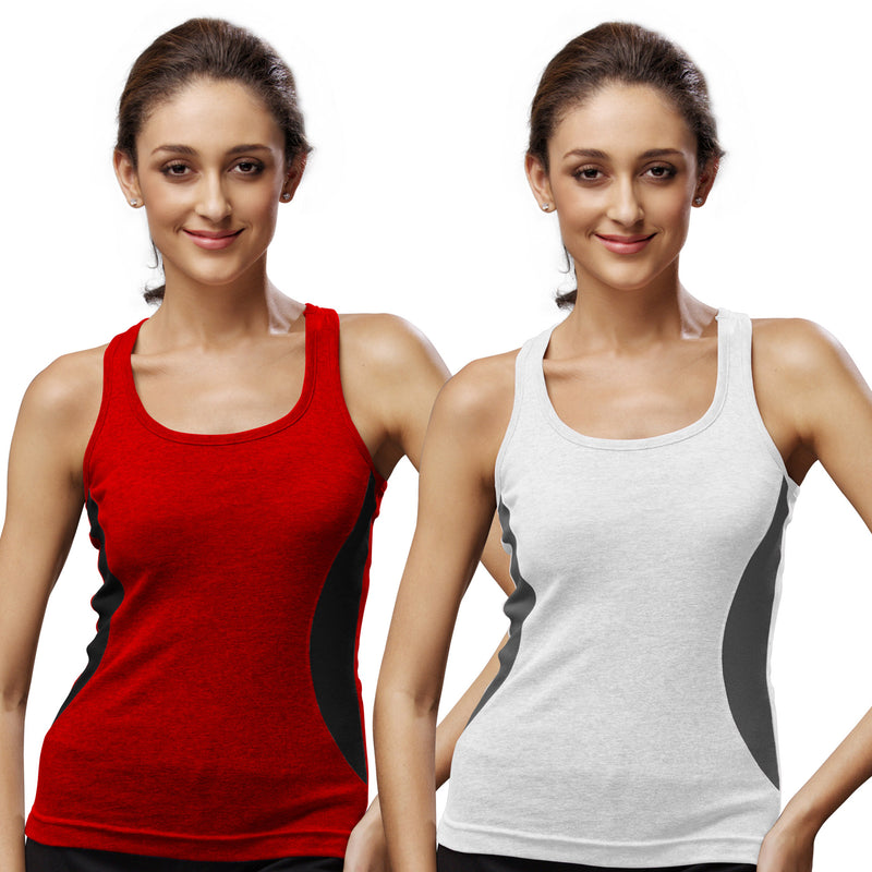 Sirtex Eazy Gym Vest for Women (Pack of 2) Red & White - WGV-5005