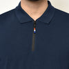 Eazy Men's Zipper Polo T-shirt ( Pack of 2) - Young Navy & Caviar Black