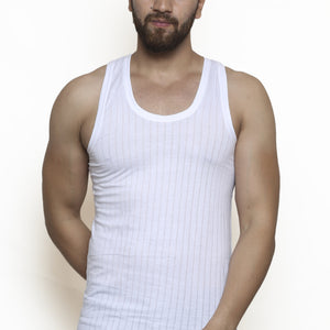 Sirtex Eazy Men's Needle Drop White Regular Vest (Pack of 5)