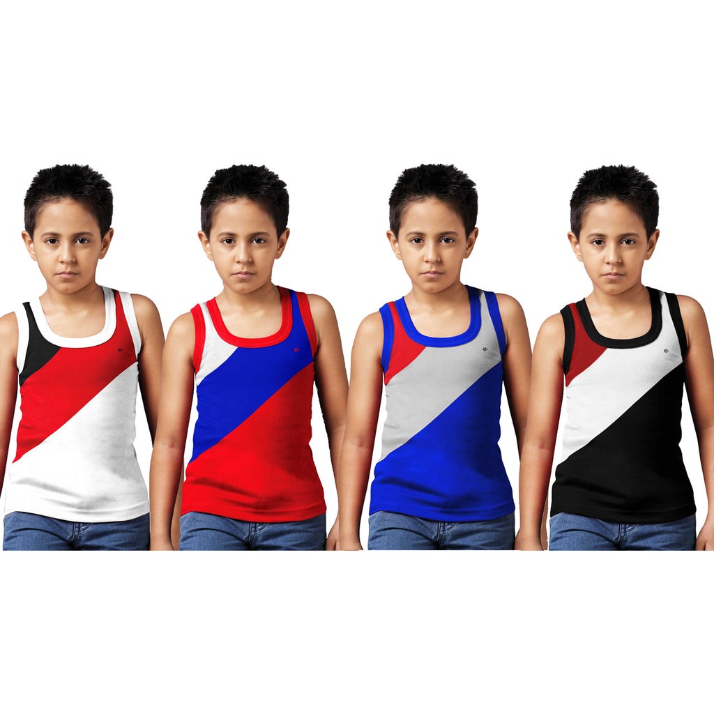 Sirtex Eazy Racer Boys Junior Gym Vest (Pack of 4) : White, Red, Royal Blue & Black - RACER-BOY-9004