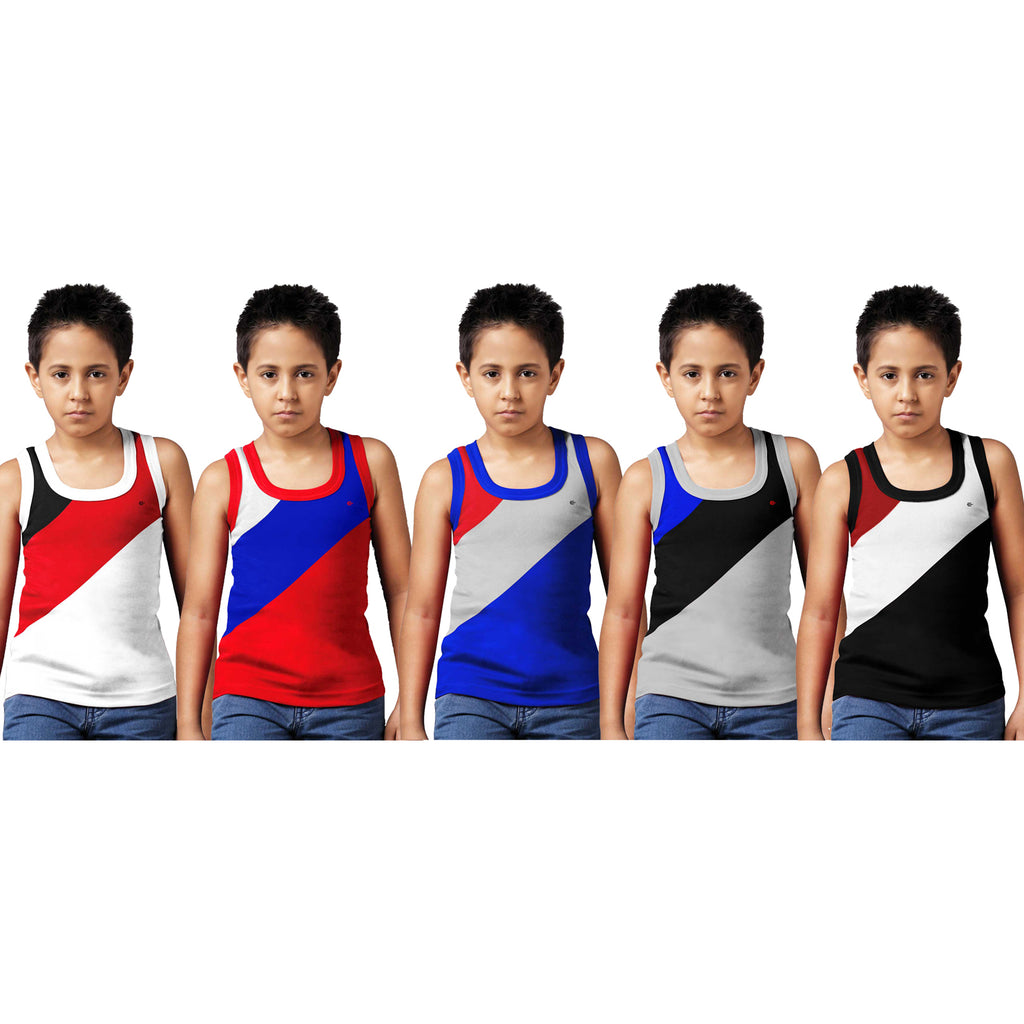 Sirtex Eazy Racer Boys Junior Gym Vest (Pack of 5) : White, Red, Royal Blue, Grey Melange & Black - RACER-BOY-9004