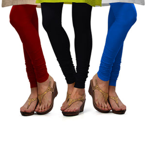 Sirtex Eazy Cotton Lycra Churidar Leggings (Pack of 3) : Maroon, Black & T Blue