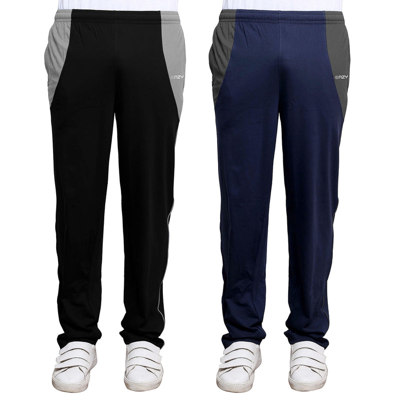 Sirtex Eazy Men's Cotton Blended Zipper Track Pants (Pack of 2) : Black & Navy Blue