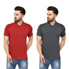 Eazy Men's Zipper Polo T-shirt (Pack of 2) - Bright Red & Grindle Black