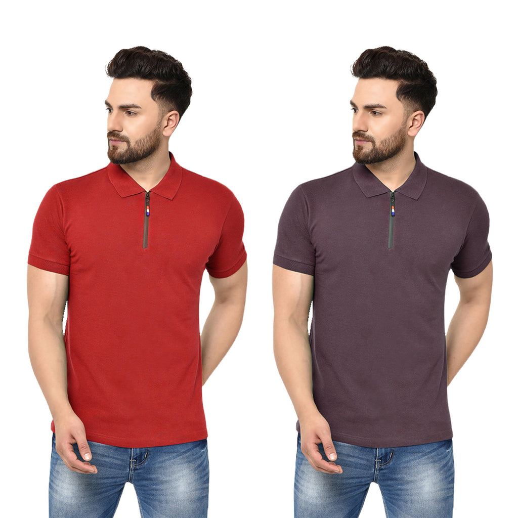 Eazy Men's Zipper Polo T-shirt ( Pack of 2) - Bright Red & Grindle Maroon