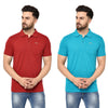 Eazy Men's Pocket Polo T-shirt ( Pack of 2) - Bright Red & Ocean Blue