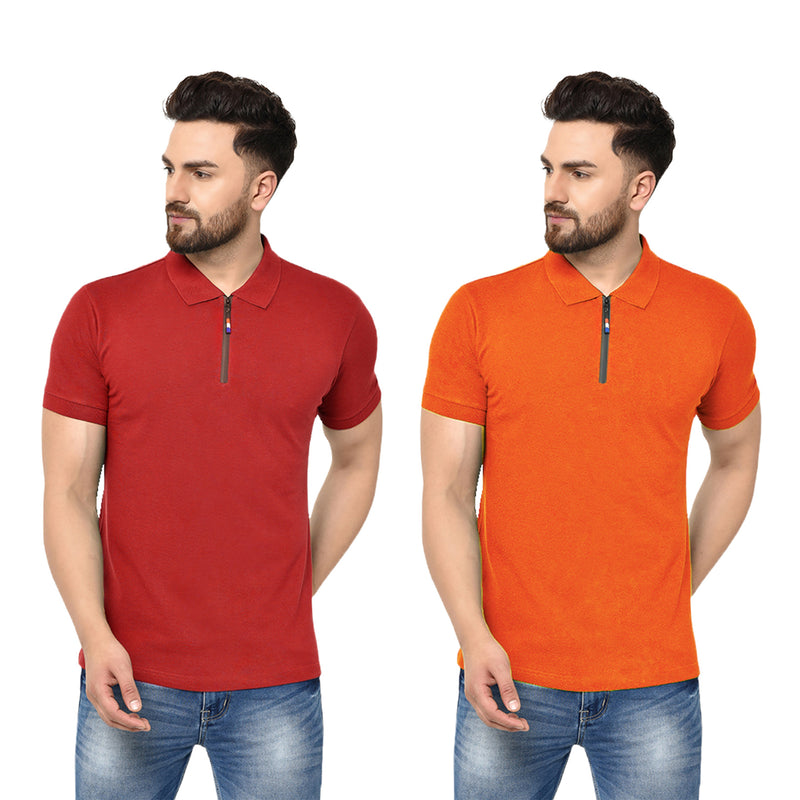 Eazy Men's Zipper Polo T-shirt ( Pack of 2) - Bright Red & Papaya Orange
