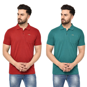 Eazy Men's Pocket Polo T-shirt ( Pack of 2) - Bright Red & Pepper Green