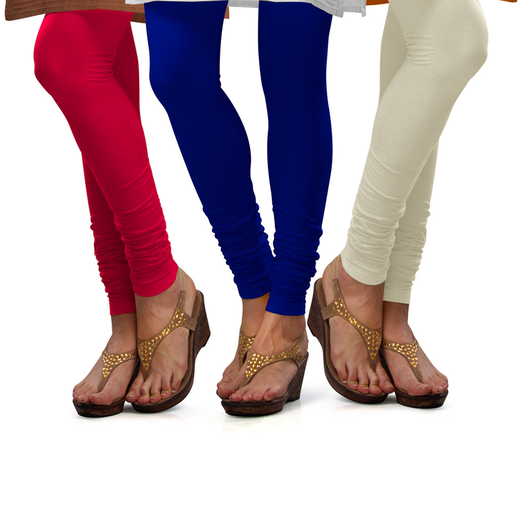 Sirtex Eazy Cotton Lycra Churidar Leggings (Pack of 3) : Bubble Gum, Royal Blue & Off-White