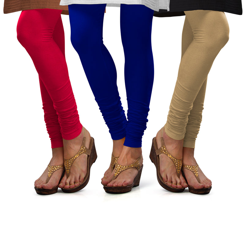 Sirtex Eazy Cotton Lycra Churidar Leggings (Pack of 3) : Bubble Gum, Royal Blue & Skin