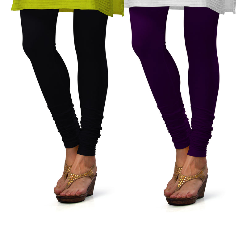 Sirtex Eazy Cotton Lycra Churidar Leggings (Pack of 2) : Black & M Purple