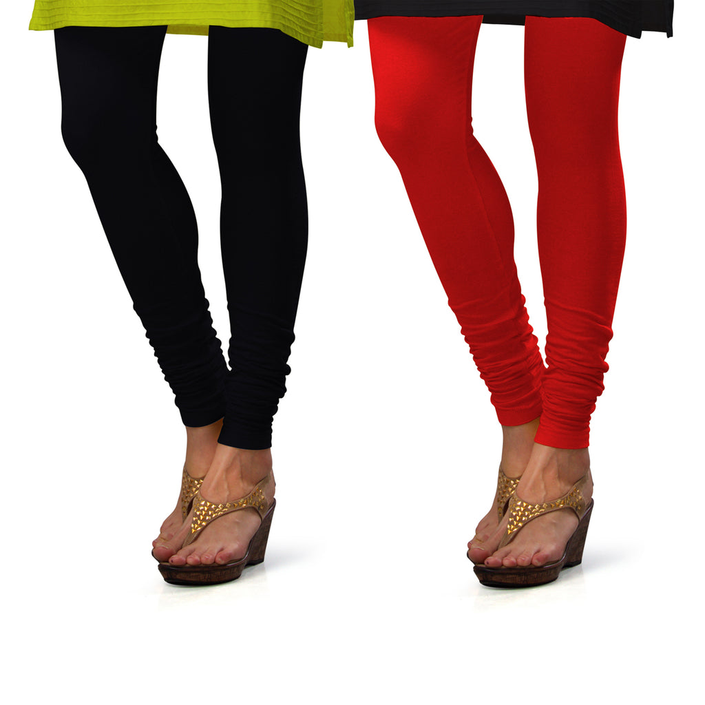 Sirtex Eazy Cotton Lycra Churidar Leggings (Pack of 2) : Black & Red