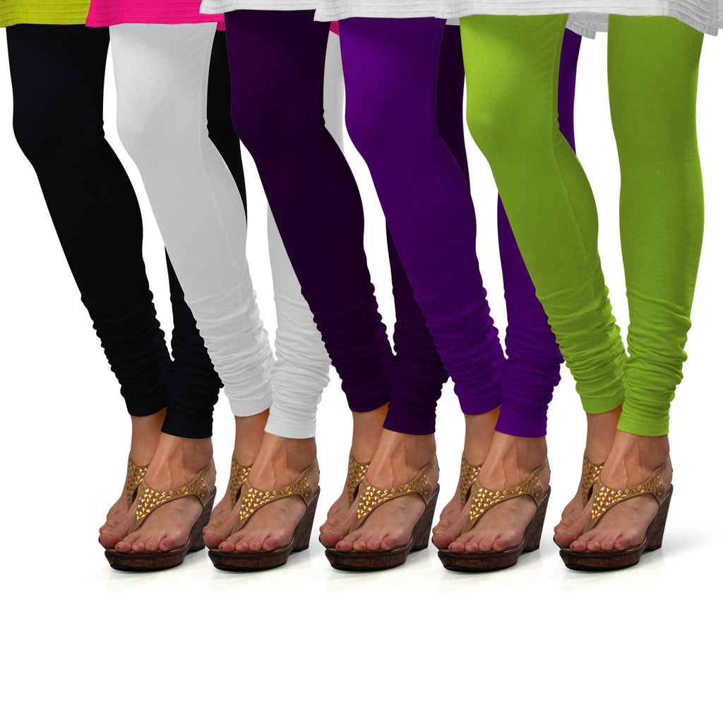 Sirtex Eazy Cotton Lycra Churidar Leggings (Pack of 5) : Black, White, M Purple, Brinjal & Parrot Green