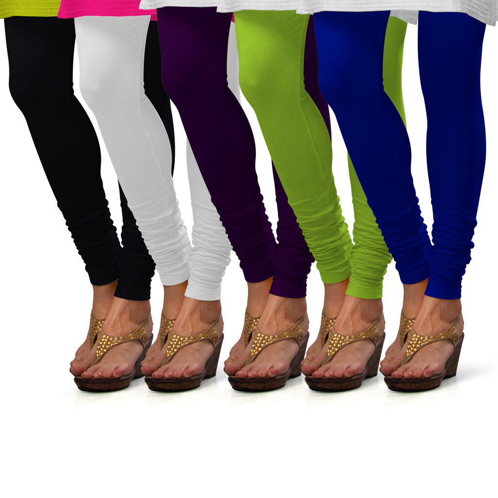 Sirtex Eazy Cotton Lycra Churidar Leggings (Pack of 5) : Black, White, M Purple, Parrot Green & Royal Blue