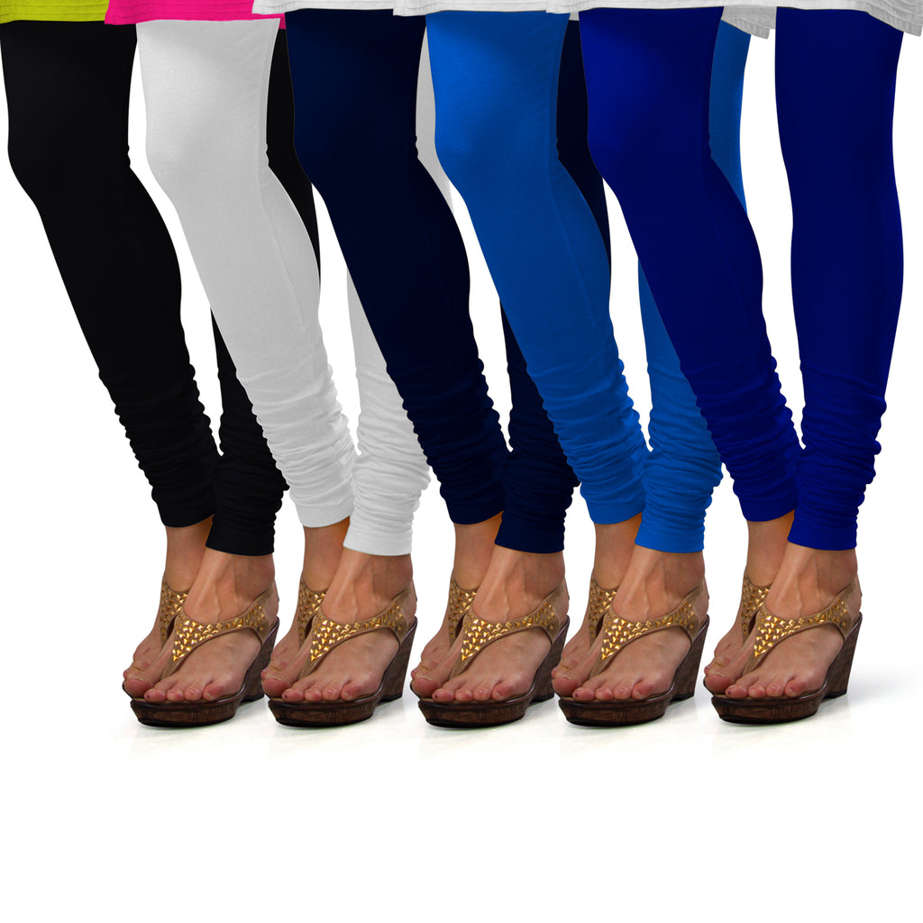 Sirtex Eazy Cotton Lycra Churidar Leggings (Pack of 5) : Black, White, Navy Blue, T Blue & Royal Blue
