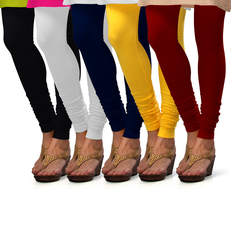 Sirtex Eazy Cotton Lycra Churidar Leggings (Pack of 5) : Black, White, Navy Blue, Yellow & Maroon