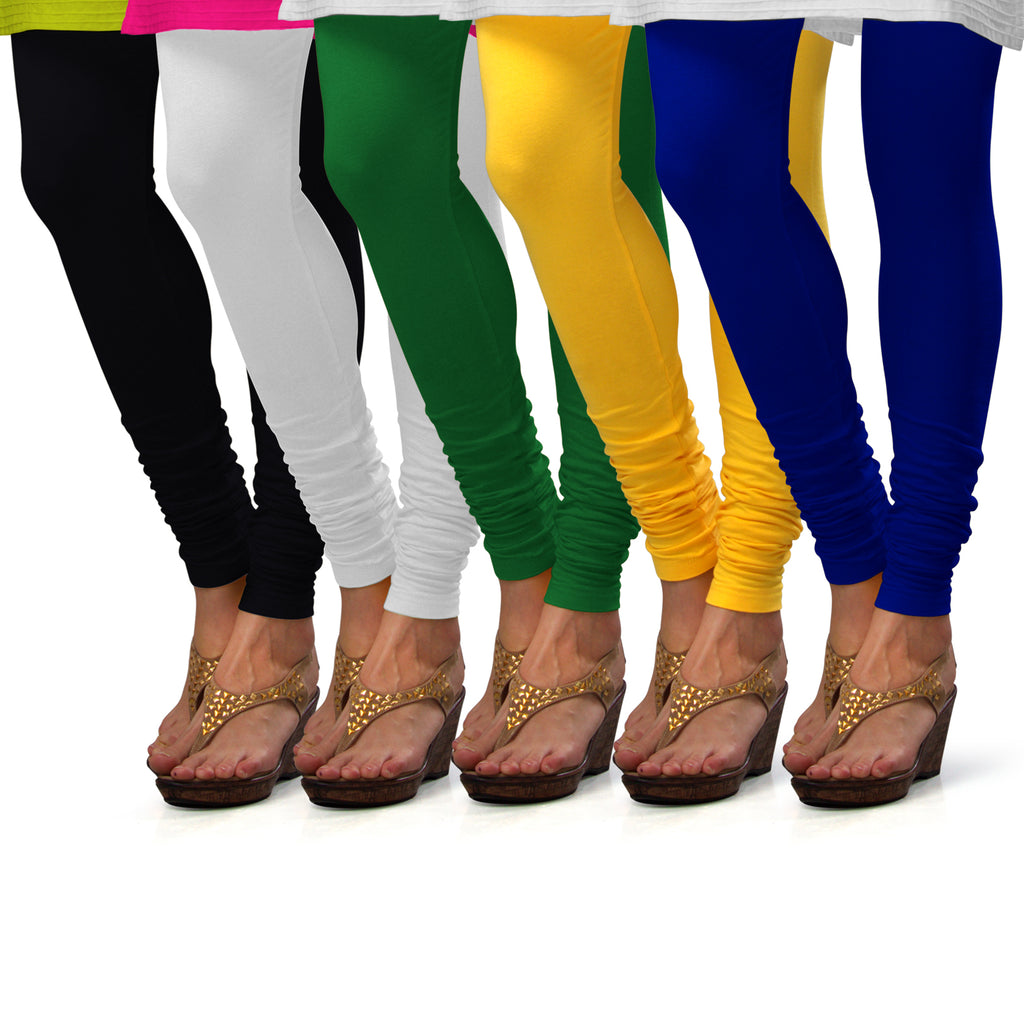 Sirtex Eazy Cotton Lycra Churidar Leggings (Pack of 5) : Black, White, Pak-Green, Yellow & Royal Blue