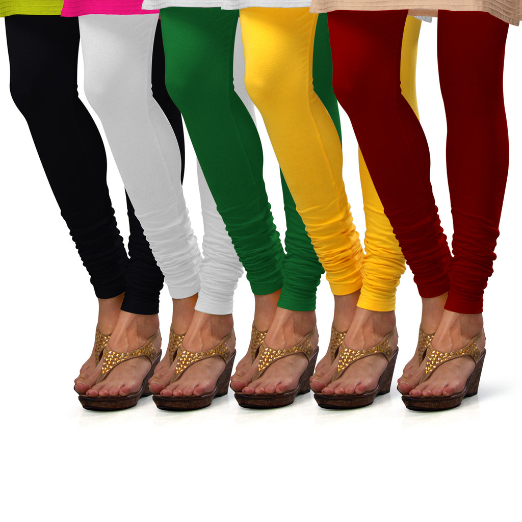 Sirtex Eazy Cotton Lycra Churidar Leggings (Pack of 5) : Black, White, Pak-Green, Yellow & Maroon