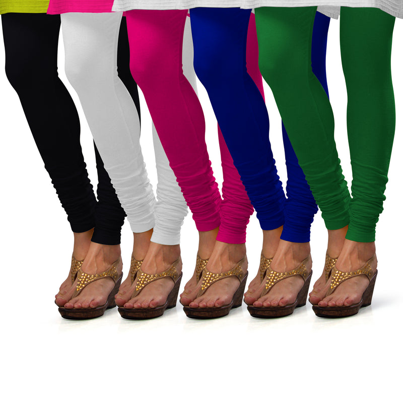 Sirtex Eazy Cotton Lycra Churidar Leggings (Pack of 5) : Black, White, Rani, Royal Blue & Pak-Green