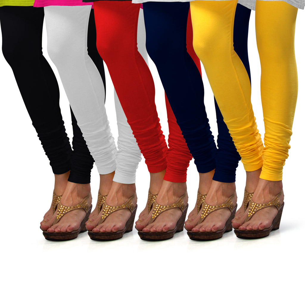 Sirtex Eazy Cotton Lycra Churidar Leggings (Pack of 5) : Black, White, Red, Navy Blue & Yellow
