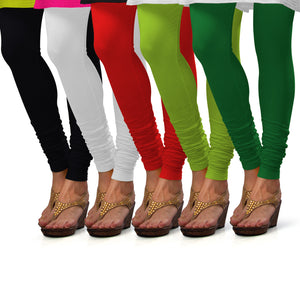 Sirtex Eazy Cotton Lycra Churidar Leggings (Pack of 5) : Black, White, Red, Parrot Green & Pak-Green
