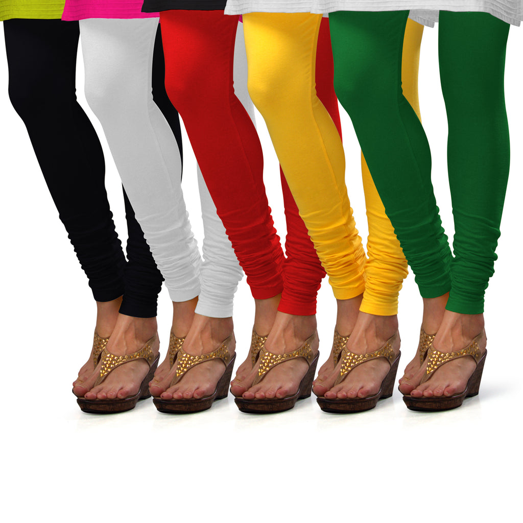 Sirtex Eazy Cotton Lycra Churidar Leggings (Pack of 5) : Black, White, Red, Yellow & Pak-Green
