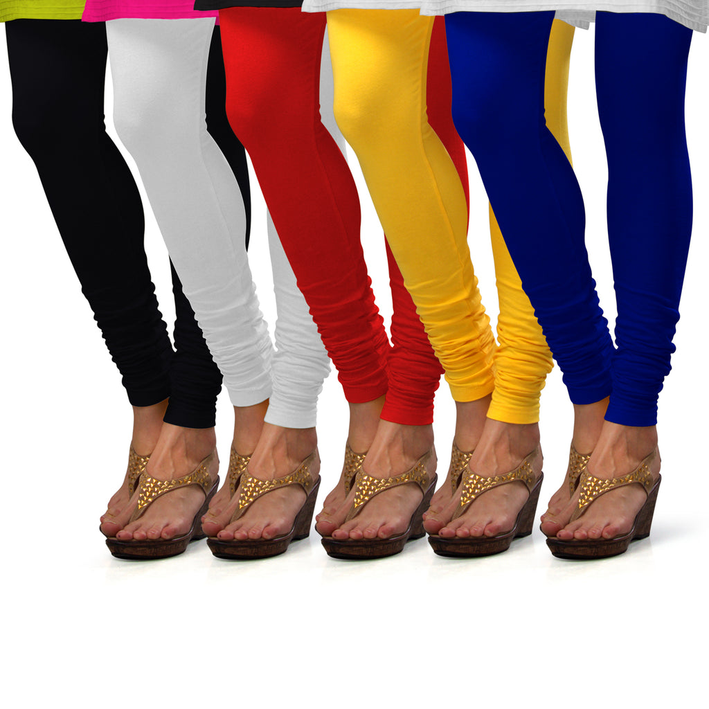 Sirtex Eazy Cotton Lycra Churidar Leggings (Pack of 5) : Black, White, Red, Yellow & Royal Blue